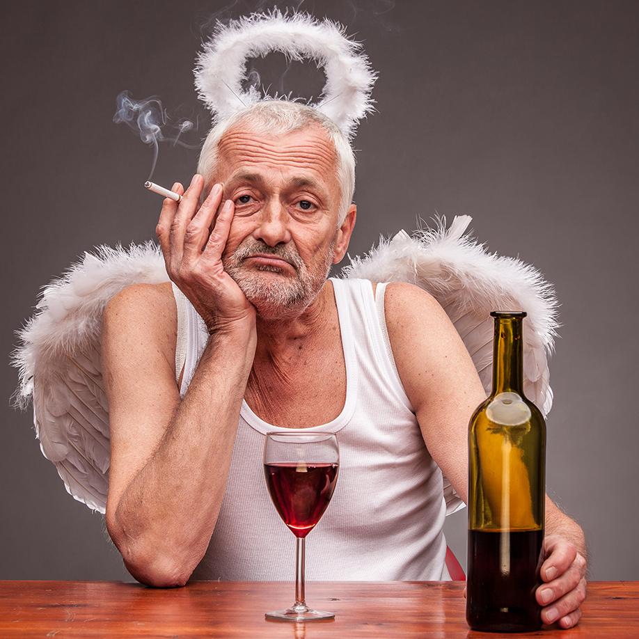 drunken angel smoking a cigarette